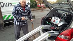 Mr Fellows likes the easy 2 button loading & unloading of his Flyte mobility scooter get your demo here http://contact.quingoscooters.com/social-mobility-scooters