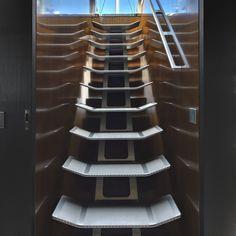 Stairs on the luxury superyacht 'Vertigo'.