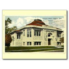 Carnegie Library, Parsons, Kansas Vintage Post Card