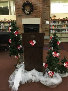 The podium was all decked out in true Danish fashion for my talk at the Wood County Public Library! Wood County, Danish Fashion, Read Aloud, Public, Christmas Tree, Holiday Decor, Creative, Fun, Teal Christmas Tree