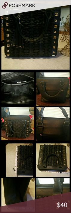 Izzy & Ali Black Tote Izzy & Ali black embossed leather purse with gold studs. Used once or twice for a short amount of time. The 3rd picture shows width, length, depth measurements. Great condition. Only missing the crossbody strap. Has zippers all working. No holes or rips. Internal side pockets and 1 external pocket with zipper. Has 1 tassel. Only taking reasonable offers. izzy & ali Bags Totes