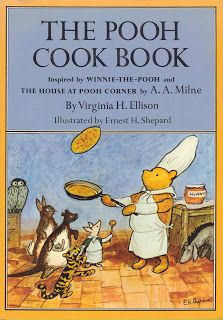 """The Pooh Cook Book"" by Virginia H. Ellison. Contains a wide variety of recipes for breakfasts, lunches, dinners, and smackerals (""Nearly eleven o'clock, said Pooh happily. You're just in time for a little smackerel of something..."" -- THE HOUSE AT POOH CORNER) as well as recipes for picnics and expotitions (""Oh! Piglet, said Pooh excitedly, we're going on a Expotition, all of us, with things to eat. To discover something."" -- WINNIE THE POOH), parties, and Christmas."
