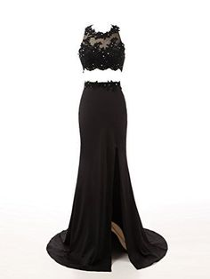 Beaded Prom Dresses,Beading Prom Dress,Black Prom Gown,2 Pieces Prom Gowns,Elegant Evening Dress,Spl on Luulla