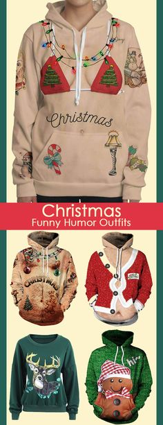 Christmas funny humor outfits for women, up to 51 off. Interesting and unique holiday outfits. Funny Christmas Outfits, Holiday Outfits, Christmas Humor, Christmas Fun, Christmas Morning, Christmas Cookies, Christmas Wreaths, Ugly Xmas Sweater, Christmas Sweaters