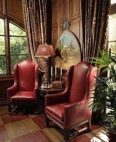 the armchairs in the study at Rose cottage