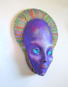 Purple Alien Mask Wall Suclpture by JanePriserArts on Etsy