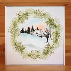 christmas oval aperture cards with cottage scenes scnes - Google Search