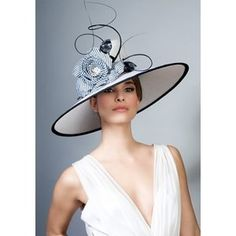 c5833ebe93e Royal Milliner Rachel Trevor-Morgan - Fine straw picture hat with stripe  flower and quills