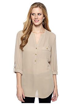 New Directions® Woven Blouse with Faux Leather Trim