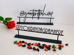 Personalized Social Media Metal Sign Custom Freestanding Table   Etsy Reception Decorations, Table Decorations, Tabletop Signs, Mr And Mrs Wedding, Custom Tags, Table Names, Personalized Favors, Metal Signs, Modern Classic