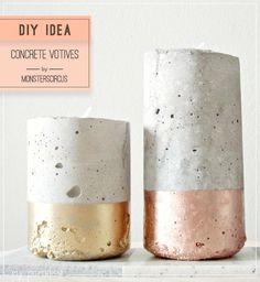 A metallic concrete planter DIY. Love the industrial materials with the shiny paint. Via my paradissi.