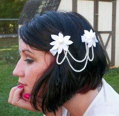 #White #Kanzashi and #Pearls #hair #handmade #thecraftstar $12.00