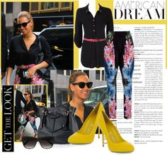 """""""Beyonce hits the streets of NYC rocking Stella McCartney Hawaiian Print Harem Trousers"""" by cherry1987 on Polyvore"""