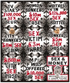 Gilbert & George (b. 1943 / 1942), Sex & Money (A London Picture) 2011, Mixed media, Each: 73.9 x 61.8 cm, Overall: 226 x 190 cm Est. HK$500,000 – 700,000 / US$64,500 – 90,500. Photo: Sotheby's.