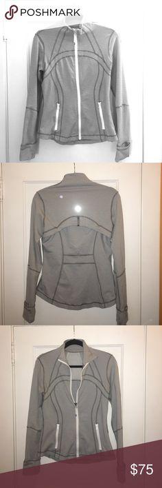 Lulu lemon athletics full zip jacket Grey striped Full zip jacket with thumb holes . Breathable back . White zippers lululemon athletica Jackets & Coats