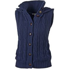 Amy Knitted Gilet ($66) ❤ liked on Polyvore featuring outerwear, vests, tops, jackets, sweaters, cable knit vest, button vest, cotton vest, fat face and vest waistcoat