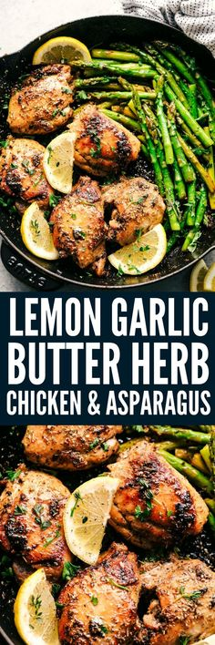 Lemon Garlic Butter Herb Chicken with Asparagus is the easiest 30 minute meal that is bursting with amazing flavor. Cooked in a buttery lemon garlic herb blend to tender juicy perfection with asparagus!