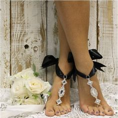 COSMOPOLITAN bow tie  barefoot sandals - black