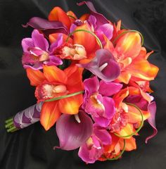 freesia calla lily and orchid bouquet - Google Search