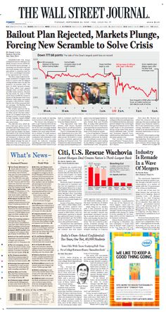 Black Monday: WSJ front page, Sept. 30, 2008