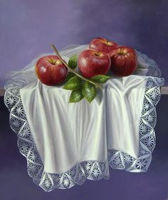Apple Painting, Lace Painting, Fruit Painting, Watercolor Paintings, Oil Painting Pictures, Fruits Images, Still Life Photos, Ferrat, Fruit Art
