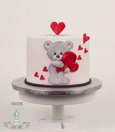New Cupcakes Fondant Valentines Teddy Bears Ideas - St Valentin Fleurs Fondant Cupcakes, Cupcakes Cool, Cute Cakes, Cupcake Cakes, Fondant Cakes Kids, Valentines Cakes And Cupcakes, Valentine Cake, Teddy Bear Cakes, Teddy Bears
