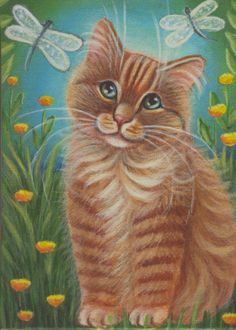 Spring theme - cute hand painted acrylic cat painting (canvas panel 7 inch x 5 inch); $18.99