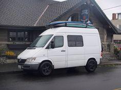 "Surfing Sprinter near Cannon Beach, Oregon - T1N high-roof 118"" wheelbase Sprinter camper van with dual sliding doors, camper windows, all-terrain tires and custom wheels. Cool!"