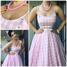 Miss Victory Violet. Summery pink gingham dress. I think I'd like to recreate this look with Simplicity 1194.