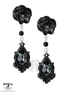 Gothic Dark Desires Fated Love Black Crystal Rose Drop Goth Earrings by Alchemy #AlchemyofEngland #DropDangle