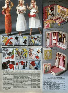 Barbie Fashions and Carrying Cases from the Sears Christmas Wish Book Catalog, 1979