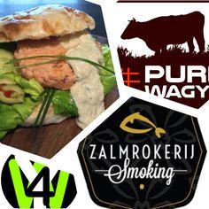 De Masters of Pure Wagyu, Zalmrokerij Smoking and Wasabi4You created a new 'Hamburger'. Wayo Salmon Burger especially for You!