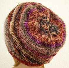 Bonnet Boho Hippie Long tricot à la main Colorant mélanger rouille Laine  Mohair 57a919e9952