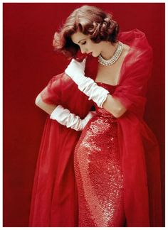 Suzy Parker in a Dress by Norman Norell, Life September 8th 1952 Cover by Milton H. Greene