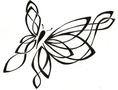 Butterfly Drawing Original Tattoo by ginabeauvais on Etsy, $17.00