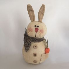 FOLK Art Primitive Spring Easter Bunny RABBIT DOLL Country Decoration Fabric #CraftOutlet