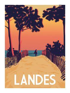 """Poster """"Secret Landes"""" - Master Travel Poster Size 50 cm x 70 cm Vintage Travel Posters, Vintage Postcards, Poster Vintage, Deco Surf, Tourism Poster, Surfing Pictures, Poster Design, Vintage Surf, Beach Posters"""