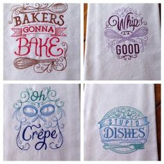 Embroidered cotton kitchen embroidered tea by embroiderybybeverly