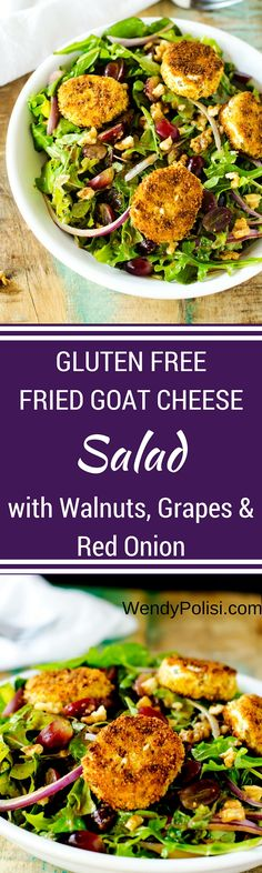 Gluten Free Fried Goat Cheese Salad (Josh loved the fried goat cheese, it was firm & crisp while still soft & gooey inside. Yum, a definite winner. We added chicken. 12/22/15 mhh)