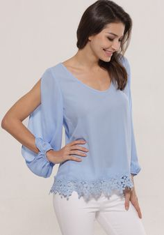 Although this lace hem chiffon blouse is casual, it can still add a dash of sexyness to your look.
