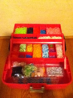My rainbow loom storage. I found this box at Walmart in the craft/beading section