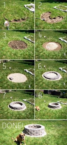 Backyard fire pit...I like this. It might be a little plain though....