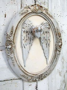 Metal angel wings wall decor in antique wood gesso frame painted distressed very pale blue w/ ivory ornate angel heart anita spero design Angel Wings Wall Decor, Angel Decor, Shabby Chic Mirror, Shabby Chic Frames, Painting Frames, Painting On Wood, Molduras Vintage, Metal Wings, Wing Wall