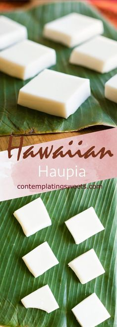 Hawaiian haupia is fresh and simple. A favorite at Hawaiian luaus and potlucks, this basic recipe is easy and quick to make. Only four ingredients! #hawaii #hawaiianfood #coconut #dessert #ono #easyrecipes #hawaiian Hawaii Desserts, Hawaiian Dessert Recipes, Hawaiian Appetizers, Hawaiian Candy, Hawaiian Luau, Hawaiian Dishes, Potluck Desserts, Hawaiian Party Drinks, Hawaii Food Recipes