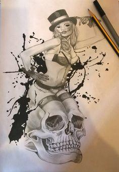 Horror pin up tattoo design by Darren Burton Soul Tattoo, Pin Up Tattoos, Vintage Soul, Tattoo Designs, Horror, Art, Art Background, Kunst, Design Tattoos
