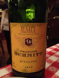 Francois Schmitt dry Riesling from Alsace.   Drank it with a friend at the Oyster Bar in Grand Central. Must drink while eating oysters!