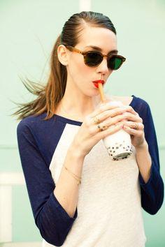 Gotta wear wear your cute sunglasses while drinking bubble tea