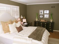 Awesome Bedroom Makeover: Awesome Bedroom Makeover With White Brown Bed And Pillows And Wooden Drawer And Small Desk Design
