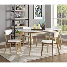 Charmian Set of 2 Retro Modern Wood Dining Chairs
