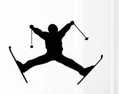 Wall stickers garçon skieur extrême ski hiver Sport personnes Accueil vinyle autocollant autocollant Kids pépinière Baby Room Decor kk522